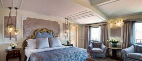 Bedroom of the Giorgione Terrace Suite of Baglioni Hotel Luna in Venice