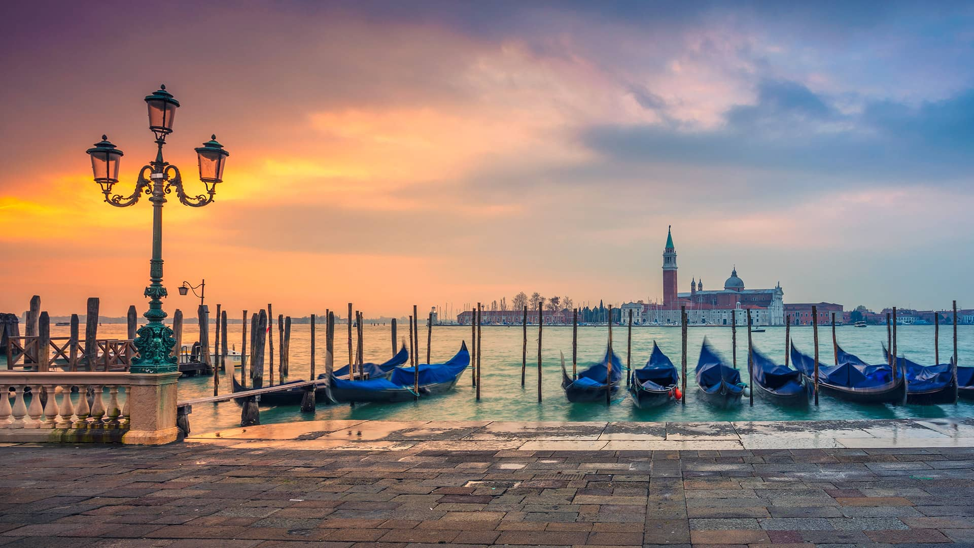 Venice gondolas on grand canal