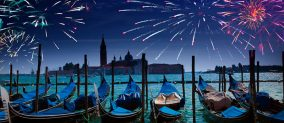 Fireworks in Venice for celebrating New Year