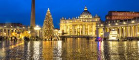 Lit-up Christmas tree in Rome